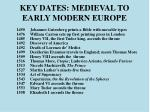 key dates medieval to early modern europe