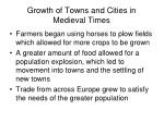 growth of towns and cities in medieval times