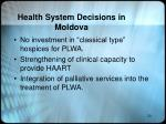 health system decisions in moldova