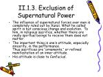 ii 1 3 exclusion of supernatural power