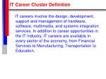 it career cluster definition