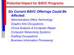 potential impact for bavc programs