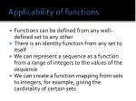 applicability of functions