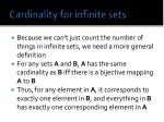 cardinality for infinite sets