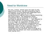 need for worldview
