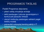 programos tikslas