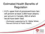 estimated health benefits of regulation