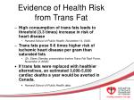 evidence of health risk from trans fat