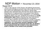 ndp motion november 23 2004