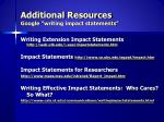 additional resources google writing impact statements