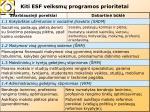 kiti esf veiksm programos prioritetai