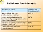 preliminarus f inansinis planas