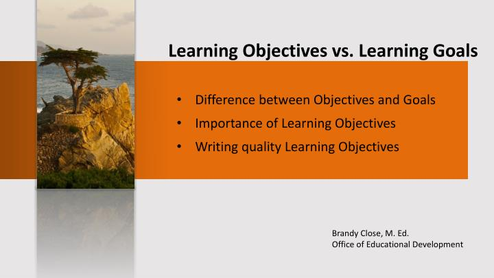 learning objectives vs learning goals n.
