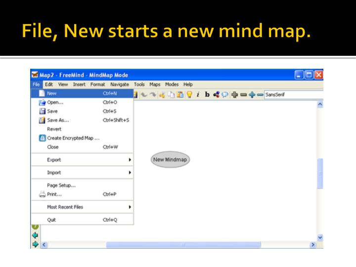 File, New starts a new mind map.