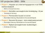 vip projecten 2005 2006
