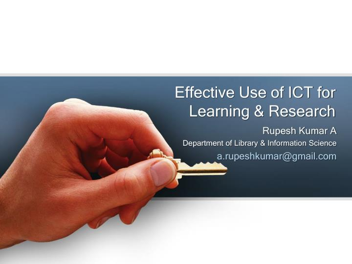 effective use of ict for learning research n.