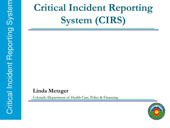 critical incident reporting system cirs n.