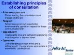 establishing principles of consultation