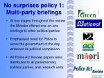 no surprises policy 1 multi party briefings