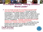 in a chapter entitled making canada a world leader