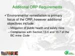 additional orp requirements