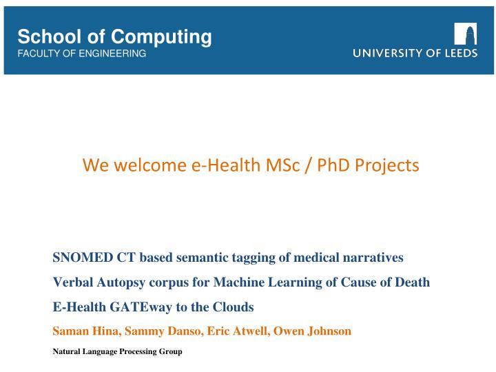 We welcome e-Health MSc