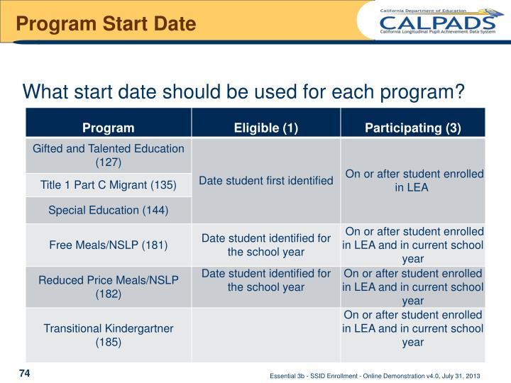 Program start date