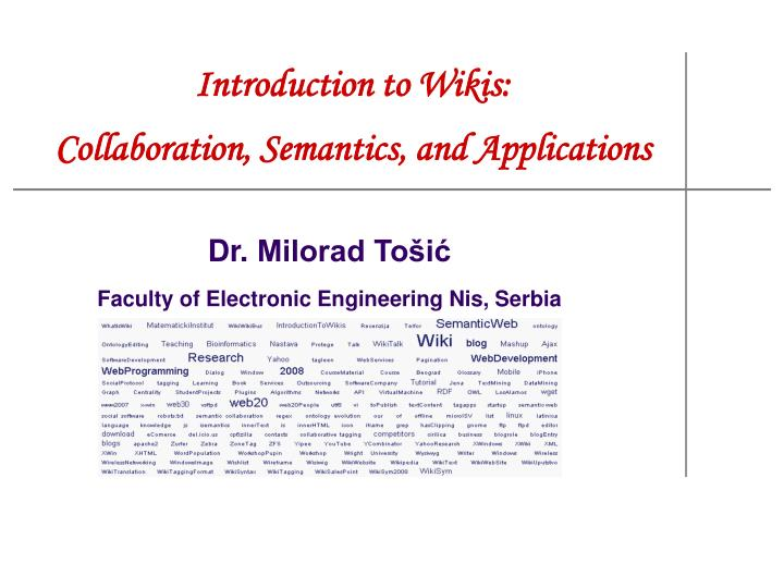 introduction to wikis collaboration semantics and applications n.