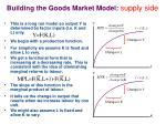 building the goods market model supply side