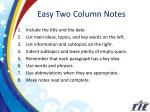 easy two column notes