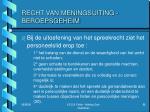 recht van meningsuiting beroepsgeheim1