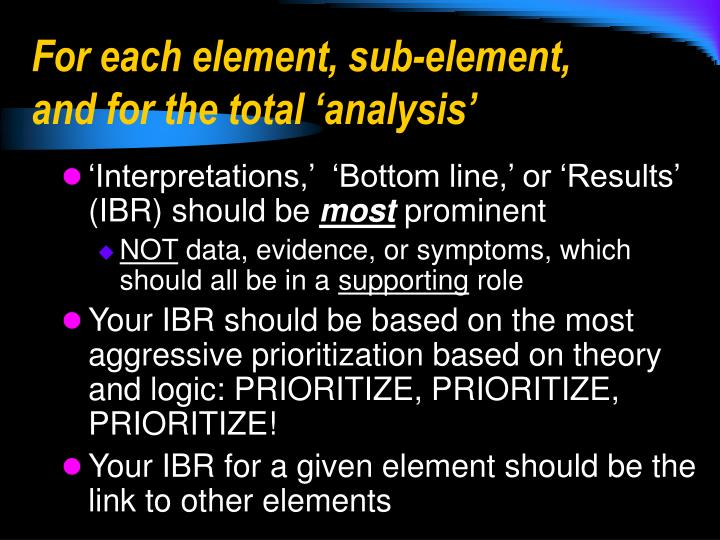 For each element, sub-element, and for the total 'analysis'