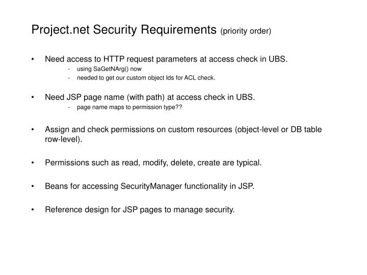 Project net security requirements priority order
