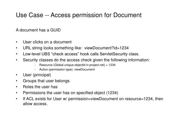 Use Case -- Access permission for Document