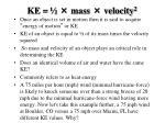 ke mass velocity 2