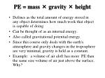 pe mass gravity height