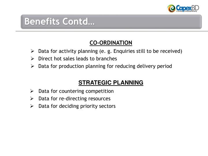 Data for activity planning (e. g. Enquiries still to be received)