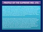 profile of the supreme ind ltd