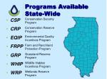 programs available state wide