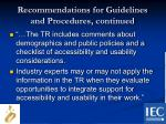 recommendations for guidelines and procedures continued