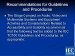 recommendations for guidelines and procedures2
