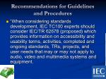 recommendations for guidelines and procedures3