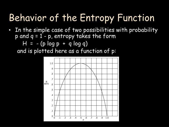 Behavior of the Entropy Function