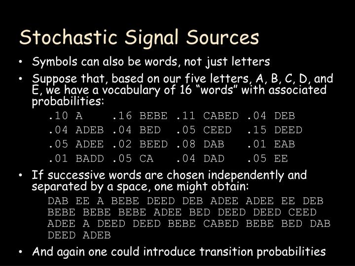 Stochastic Signal Sources