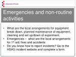 emergencies and non routine activities1