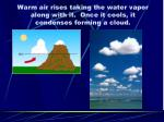 warm air rises taking the water vapor along with it once it cools it condenses forming a cloud