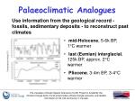 palaeoclimatic analogues