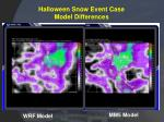 halloween snow event case model differences