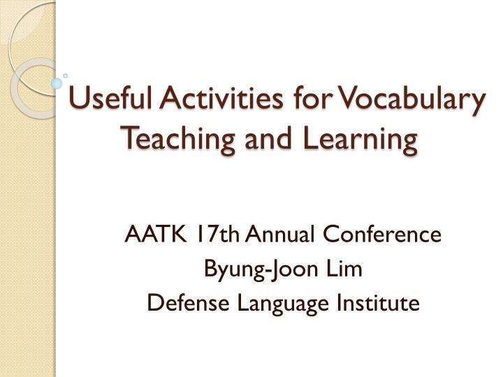 useful activities for vocabulary teaching and learning n.