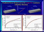 predicted stress strain curves for angle ply laminates with fiber rotation